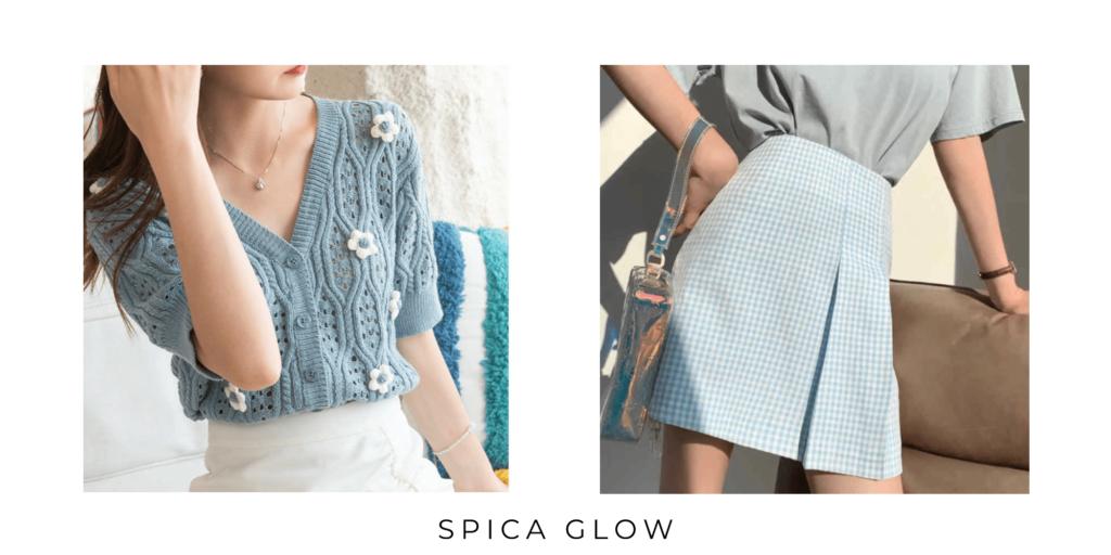 フラワーモチーフのサマーニットと、水色のギンガムチェックのミニスカートを着た女性