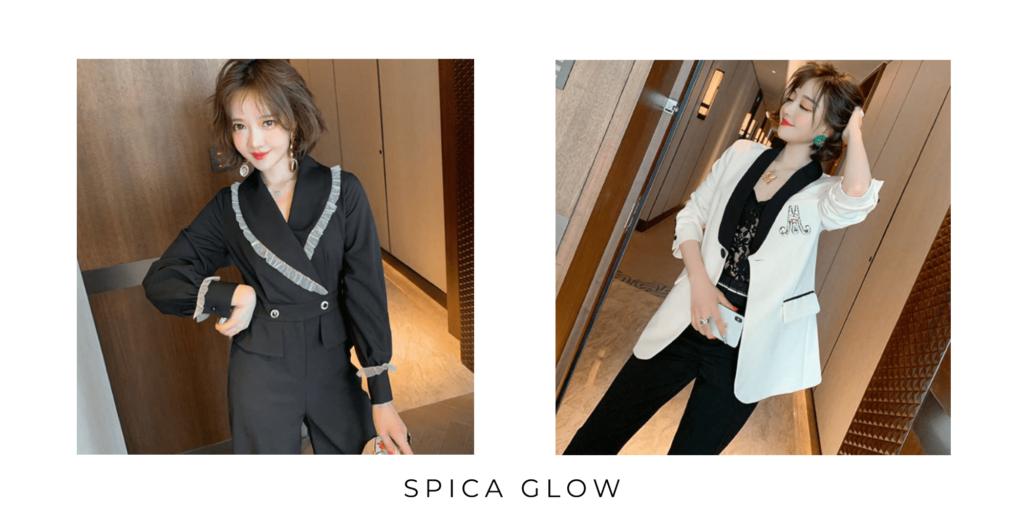 ブラックのオールインワンとホワイトのジャケットを着た女性